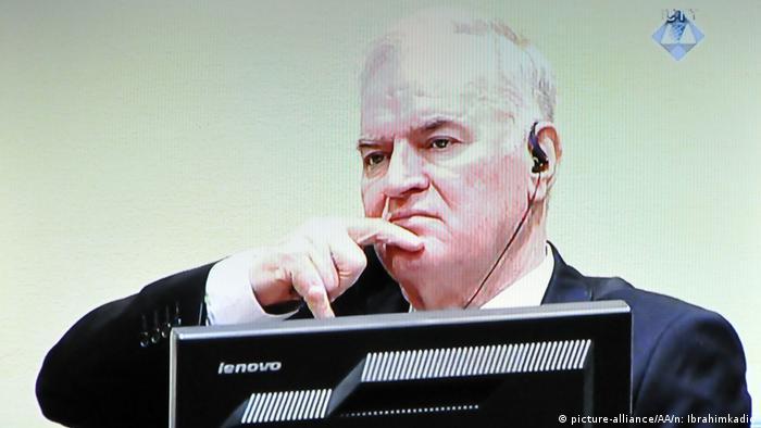 Ratko Mladic at his trial
