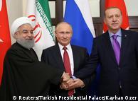 Хасан Роухани, Владимир Путин и Реджеп Тайип Эрдоган на встрече в Сочи