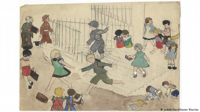 Kinder laufen herum: Kinder-Zeichung von Judith Kerr (Judith Kerr/Seven Stories)