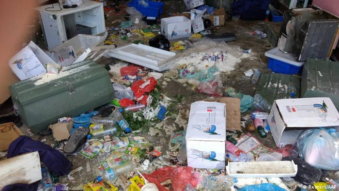 Debris and food seen at Manus Island detention center after police began an operation to clear out asylum seekers (Reuters/AAP)