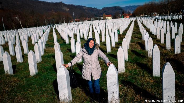 Cemitério Memorial no vilarejo de Potocari, próximo a Srebrenica
