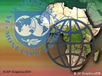 IMF Logo and World Bank Logo in front of a map of Africa
