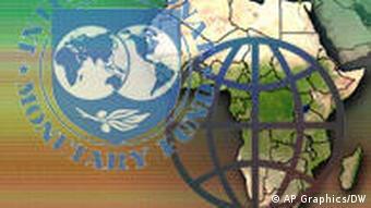 Symbolbild IWF und Weltbank Logo und Afrika Karte