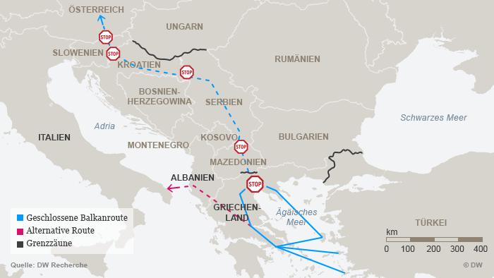 Infografik Karte Geschlossene Balkanroute DEU
