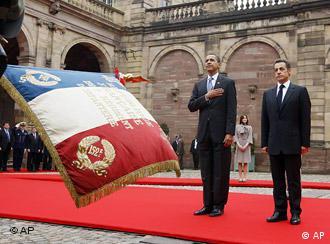 Барак Обама и Николя Саркози в Страсбурге