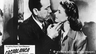 Humphrey Bogart and Ingrid Bergman look into one another's eyes in the 1942 classic 'Casablanca'