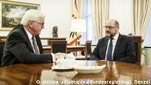 Deutschland Schloss Bellevue Gespräch zu Koalitionsverhandlungen SPD Martin Schulz