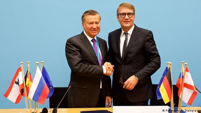 Wiktor Subkow und Ronald Pofalla beim Petersburger Dialog 2017 im Roten Rathaus in Berlin