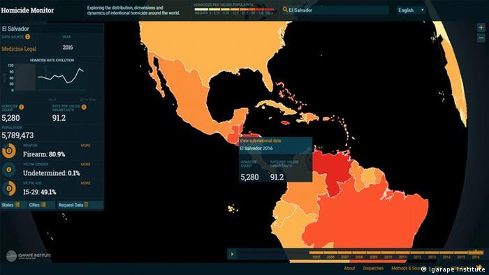 """Screenshot von der interaktiven Website """"Homicide Monitor"""" (Igarape Institute)"""