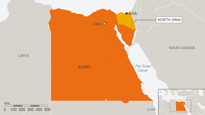 A map showing Egypt with its North Sinai province