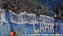 Zenit fans hold up a banner saying 'Ratko Mladic - Serbian hero' in Russian (imago/ZUMA Press/M. Konstantinov)
