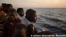 Migrants from sub-Saharan Africa after being rescued in the Mediterranean
