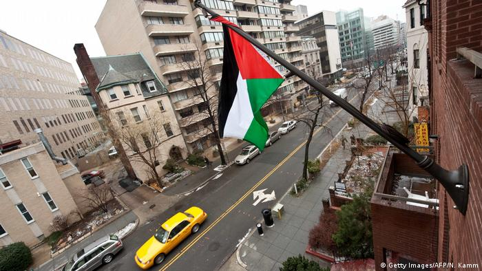The Palestinian flag flies from the building housing the General Delegation of the Palestine Liberation Organization (PLO) in Washington (Getty Images/AFP/N. Kamm)