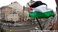 The Palestinian flag flies outside the PLO office in Washington DC (Getty Images/AFP/N. Kamm)