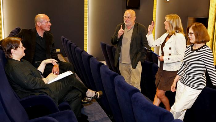 Members of the FSK examination board gather in one of the viewing cinemas in the Deutsches Filmhaus in Wiesbaden to discuss age-release rating (FSK)