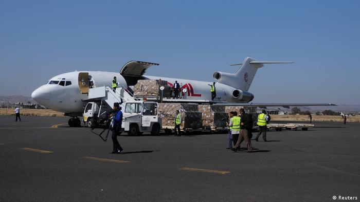 Aid plane on the tarmac in Sanaa (Reuters)