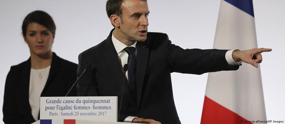 """Macron apresenta projeto quinquenal: """"A França não pode mais ser um desses países onde as mulheres têm medo"""""""