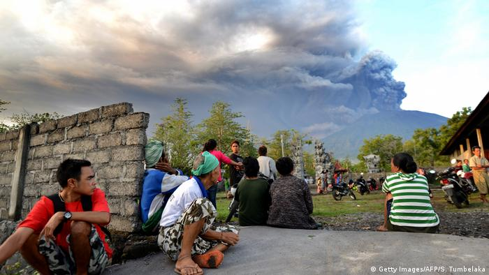 Crowds gathered to watch the volcano erupt