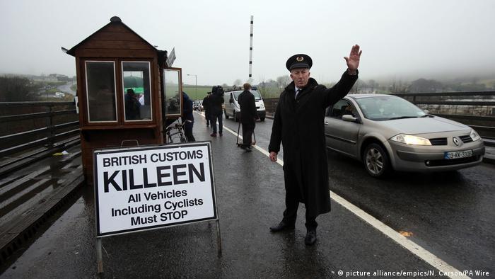 A protest at the British-Irish border