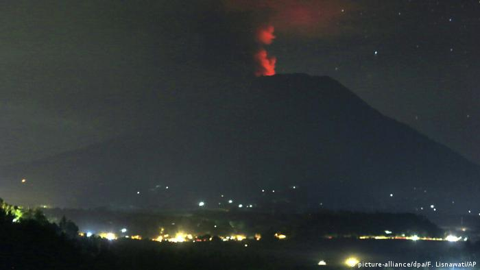 Mount Agung at nighttime