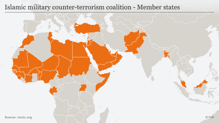 Infografik KarteIslamic military counter-terrorism coalition - Member states ENG