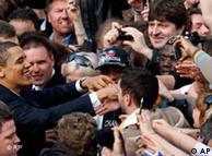 US President Barack Obama greets supporters after delivering a public speech in Prague