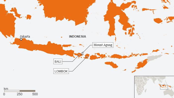 Karte Indonesien Bali Mount Agung ENG