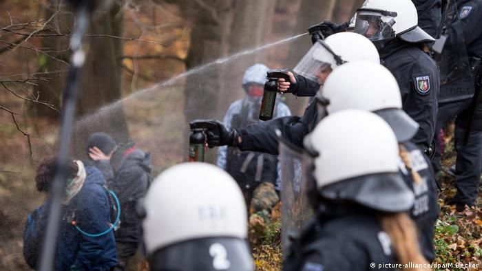 Police pepper spray protesters in the Hambach forest in November, 2017
