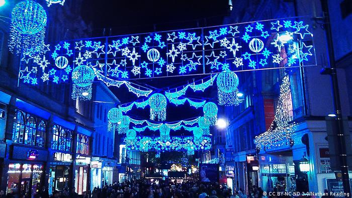 Lights hang in the streets of Birmingham at Christmastime (CC BY-NC-ND 2.0/Nathan Reading)