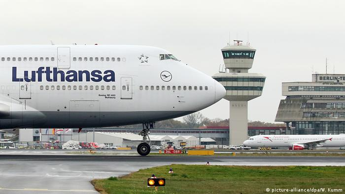 A Lufthansa jumbo jet at Berlin Tegel airport