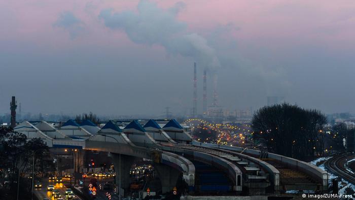 Polen Krakau Smog und Nebel