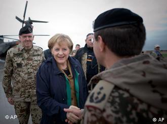 Chancellor Merkel meets Bundeswehr officers in Kunduz