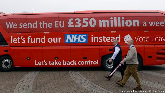 The Vote Leave campaign bus in the 2016 referendum