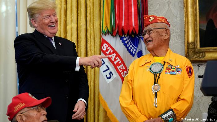 US President Donald Trump reacts as he honours Navajo Code Talkers for their contributions during World War Two at the White House in Washington (Reuters/K. Lamarque)