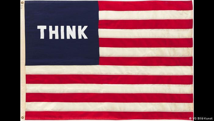 US flag reads THINK (VG Bild-Kunst)