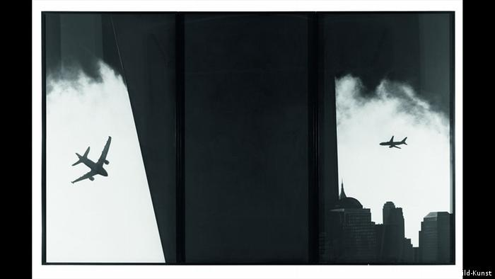 The Haunting (Triptych) shows plane flying into World Trade Center (VG Bild-Kunst)