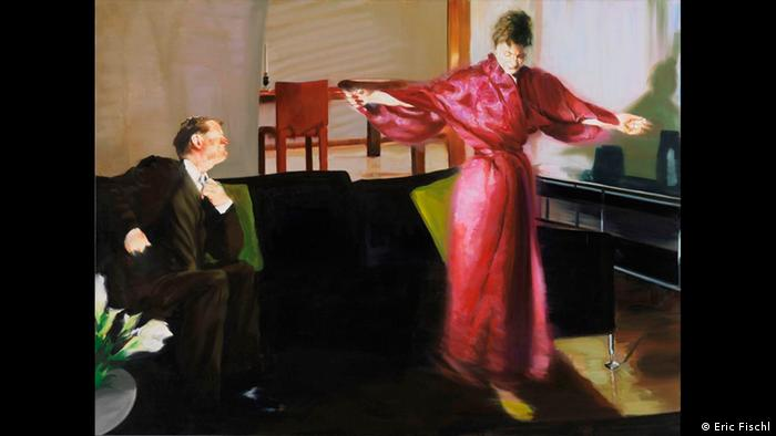 Eric Fischl, Living Room Scene III shows woman in robe and man in suit in living room (Eric Fischl)