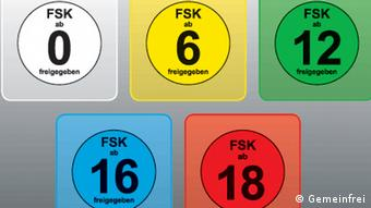 The FSK's different ratings and color codes (Gemeinfrei)
