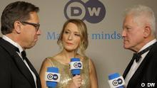 Perspektivwechsel: Miroslav Nemec interviewt Robert Pölzerl beim Bundespresseball 2017, Meike Krüger moderiert