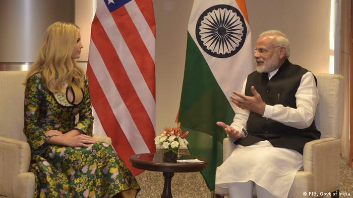 Indien Premierminister Narendra Modi & Ivanka Trump (PIB, Govt of India)