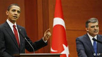 President Barack Obama and Turkey's President Abdullah Gul hold a joint news conference in Ankara, Turkey.