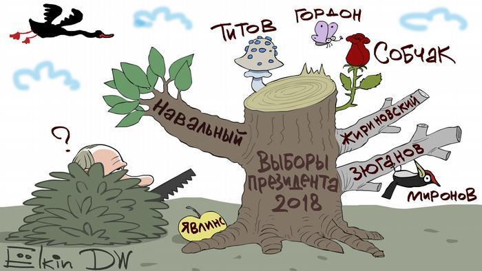 Путин с пилой возле дерева, на ветках которого имена кандидатов в президенты, в том числе Навального, Собчак, Жириновский итд.