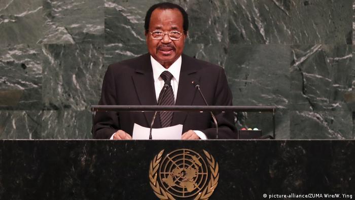 Cameroonian president Paul Biya addressing the United Nations