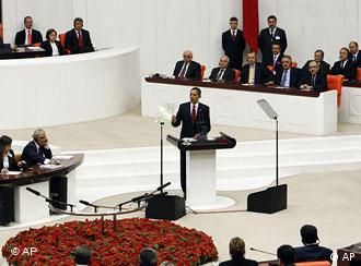 President Barack Obama addresses the general assembly at the Turkish Parliament building in Ankara, Turkey, Monday, April 6, 2009.