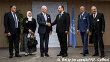 Schweiz Syriengespräche in Genf   Staffan de Mistura & Nasr al-Hariri