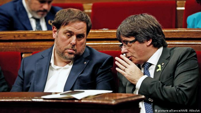 Spain Catalonia, Oriol Junqueras and Carles Puigdemont (picture-alliance/AA/B. Akbulut)