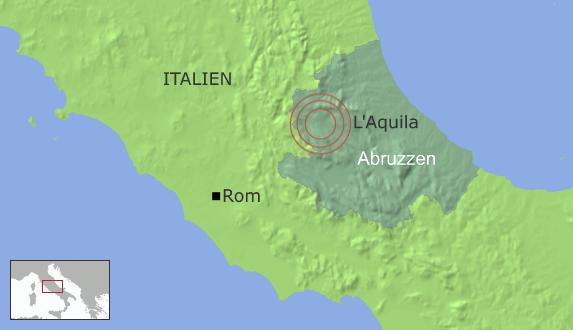 Eine Grafik der besonders betroffenen Region Abruzzen (DW-Grafik: Peter Steinmetz)