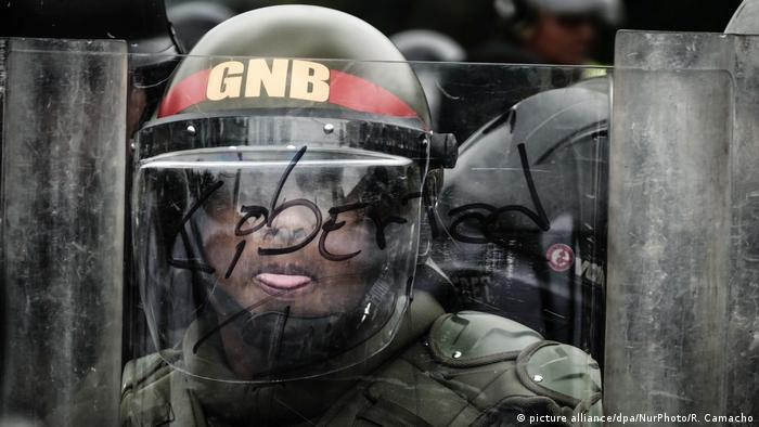 Venezuela National Guard police officer in Caracas during riots