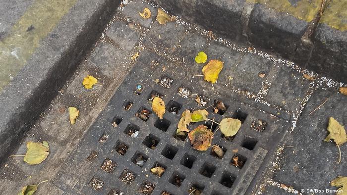 Plastic pellets in the gutter