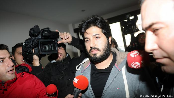 Azerbaijani businessman Reza Zarrab surrounded by journalists in Istanbul in 2013 (Getty Images/AFPO. Kose)